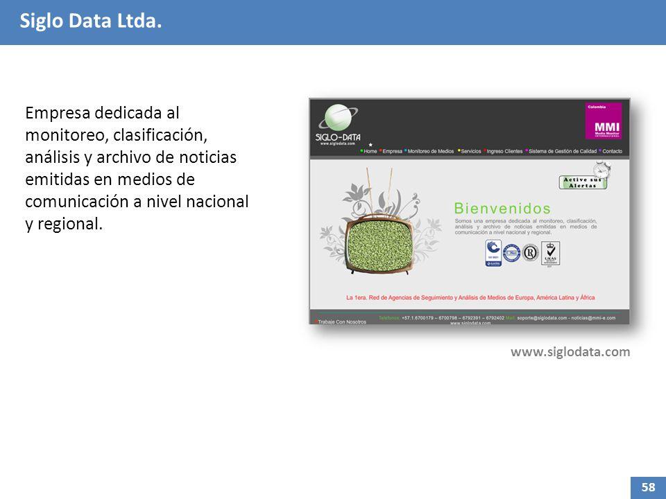 Siglo Data Ltda. Empresa dedicada al monitoreo, clasificación, análisis y archivo de noticias emitidas en medios de comunicación a nivel nacional y re