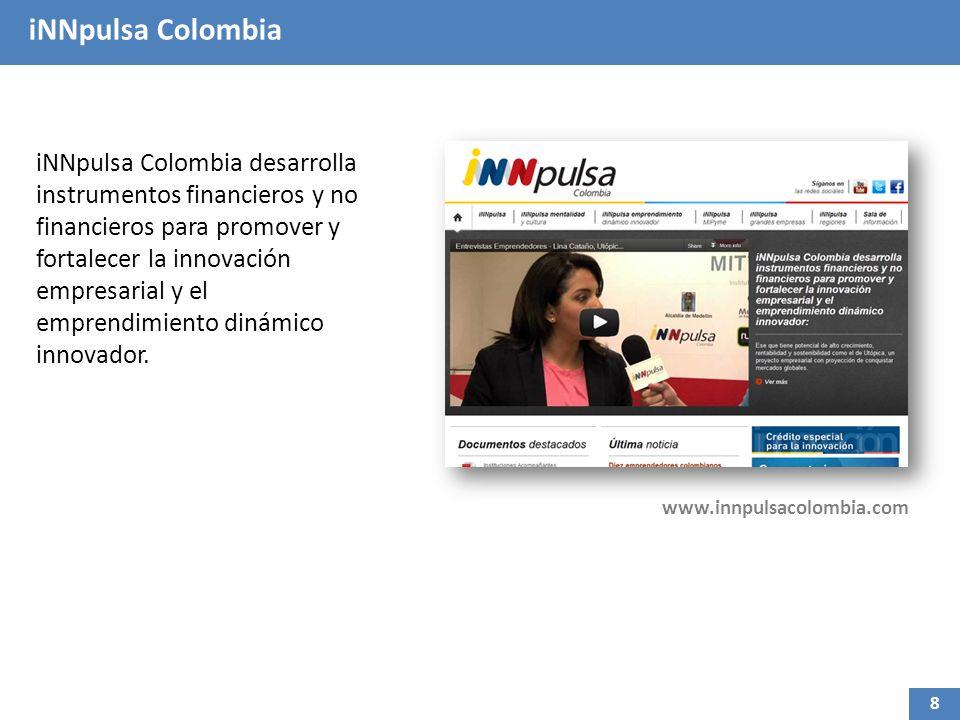 iNNpulsa Colombia iNNpulsa Colombia desarrolla instrumentos financieros y no financieros para promover y fortalecer la innovación empresarial y el emprendimiento dinámico innovador.