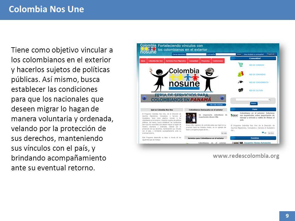 Colombia Nos Une Tiene como objetivo vincular a los colombianos en el exterior y hacerlos sujetos de políticas públicas. Así mismo, busca establecer l