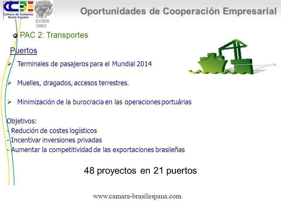 MINISTE RIO DE RELACI ONES EXTERI ORES Oportunidades de Cooperación Empresarial Terminales de pasajeros para el Mundial 2014 Muelles, dragados, accesos terrestres.