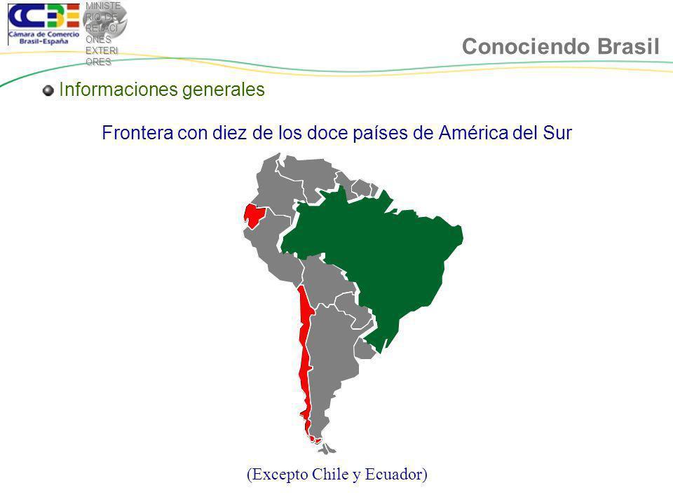 MINISTE RIO DE RELACI ONES EXTERI ORES Conociendo Brasil Frontera con diez de los doce países de América del Sur (Excepto Chile y Ecuador) Informaciones generales