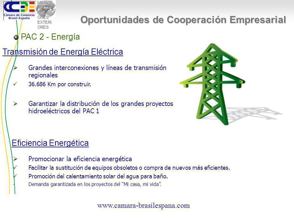 MINISTE RIO DE RELACI ONES EXTERI ORES PAC 2 - Energía Oportunidades de Cooperación Empresarial Transmisión de Energía Eléctrica Grandes interconexiones y líneas de transmisión regionales 36.686 Km por construir.