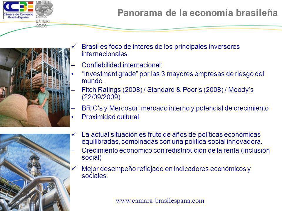 MINISTE RIO DE RELACI ONES EXTERI ORES www.camara-brasilespana.com Panorama de la economía brasileña Brasil es foco de interés de los principales inversores internacionales –Confiabilidad internacional: Investment grade por las 3 mayores empresas de riesgo del mundo.
