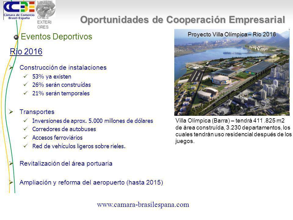 MINISTE RIO DE RELACI ONES EXTERI ORES Construcción de instalaciones 53% ya existen 26% serán construídas 21% serán temporales Transportes Inversiones de aprox.