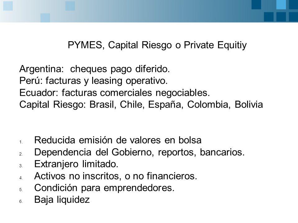 PYMES, Capital Riesgo o Private Equitiy Argentina: cheques pago diferido.