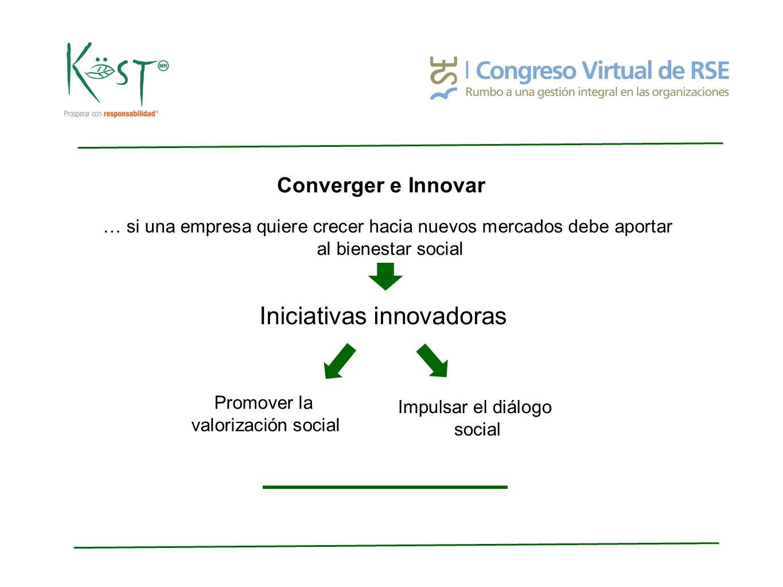 Converger e Innovar … si una empresa quiere crecer hacia nuevos mercados debe aportar al bienestar social Iniciativas innovadoras Promover la valorización social Impulsar el diálogo social