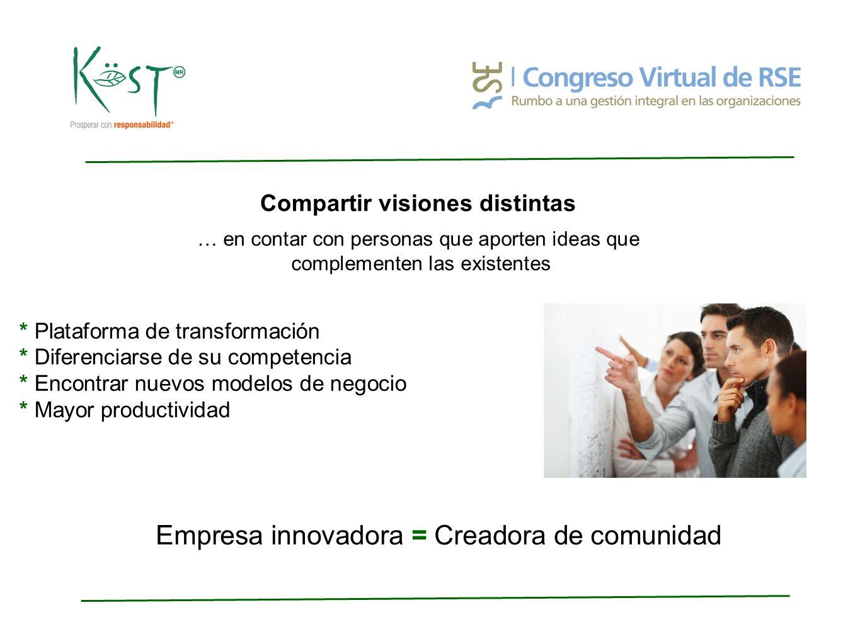 Compartir visiones distintas … en contar con personas que aporten ideas que complementen las existentes * Plataforma de transformación * Diferenciarse de su competencia * Encontrar nuevos modelos de negocio * Mayor productividad Empresa innovadora = Creadora de comunidad