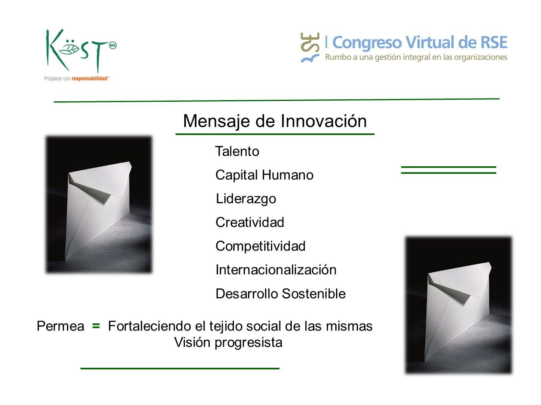 Innovación : Competitividad Entorno que sustente > Creación de Valor Mayor prosperidad para la Sociedad Prácticas empresariales con mayor visión de crecimiento a fin de desarrollar y mantener Innovación Competitividad