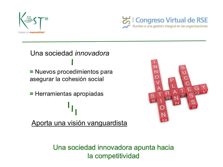 Una sociedad innovadora apunta hacia la competitividad Una sociedad innovadora = Nuevos procedimientos para asegurar la cohesión social = Herramientas apropiadas Aporta una visión vanguardista