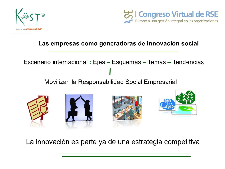 Las empresas como generadoras de innovación social Escenario internacional : Ejes – Esquemas – Temas – Tendencias Movilizan la Responsabilidad Social Empresarial La innovación es parte ya de una estrategia competitiva