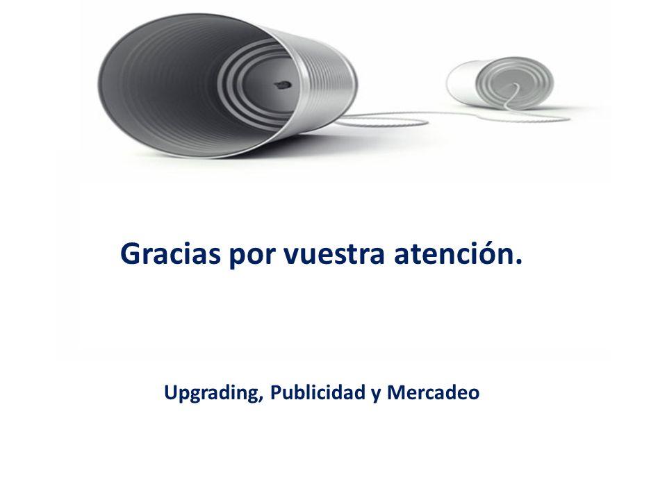 Gracias por vuestra atención. Upgrading, Publicidad y Mercadeo