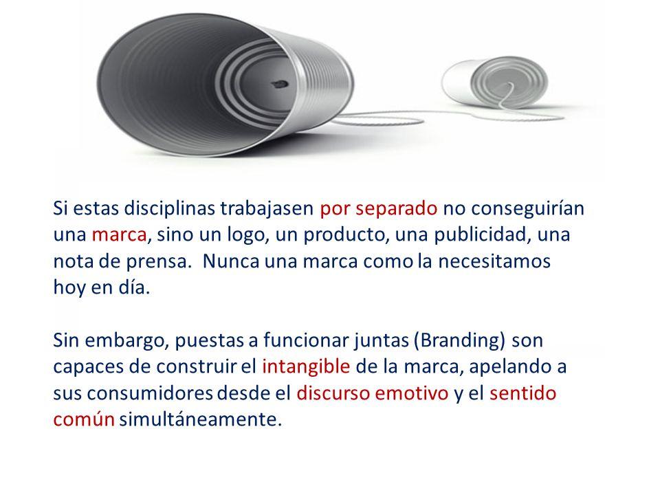 Si estas disciplinas trabajasen por separado no conseguirían una marca, sino un logo, un producto, una publicidad, una nota de prensa.