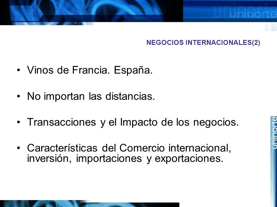 NEGOCIOS INTERNACIONALES(2) Vinos de Francia. España. No importan las distancias. Transacciones y el Impacto de los negocios. Características del Come
