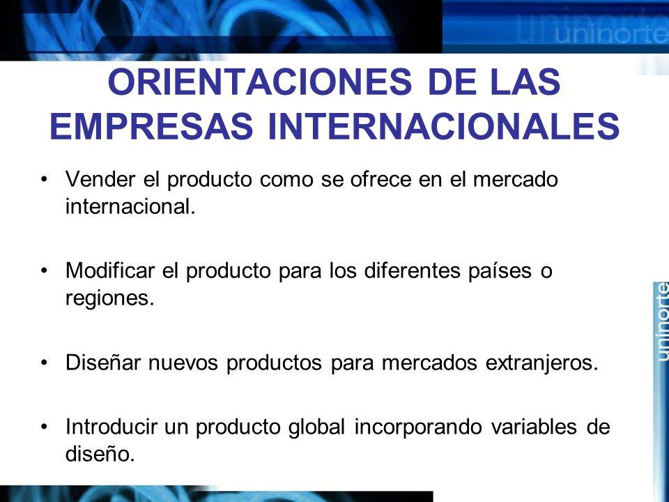 ORIENTACIONES DE LAS EMPRESAS INTERNACIONALES Vender el producto como se ofrece en el mercado internacional. Modificar el producto para los diferentes