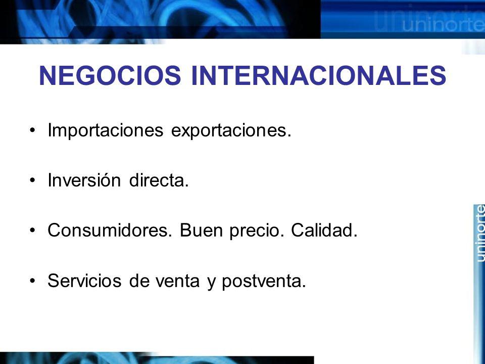 NEGOCIOS INTERNACIONALES Importaciones exportaciones. Inversión directa. Consumidores. Buen precio. Calidad. Servicios de venta y postventa.