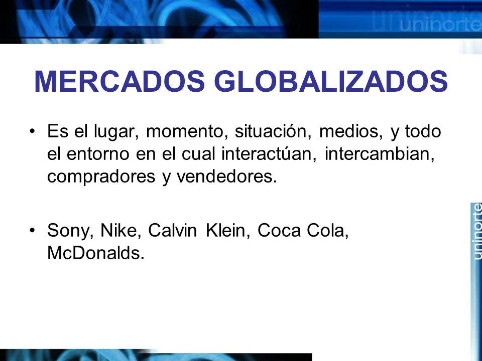 MERCADOS GLOBALIZADOS Es el lugar, momento, situación, medios, y todo el entorno en el cual interactúan, intercambian, compradores y vendedores. Sony,