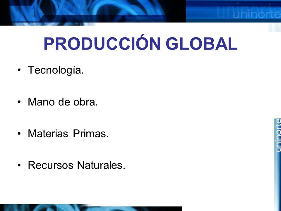 PRODUCCIÓN GLOBAL Tecnología. Mano de obra. Materias Primas. Recursos Naturales.