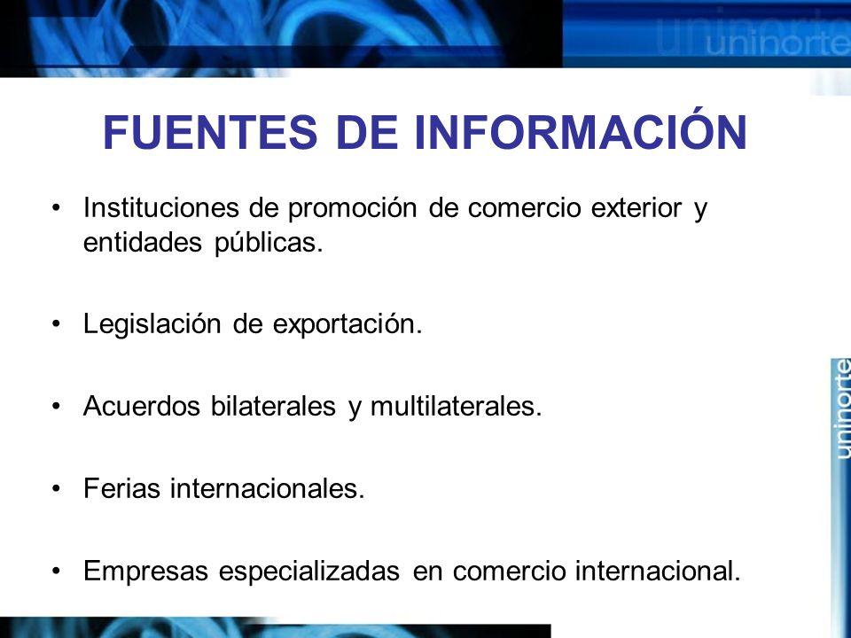 FUENTES DE INFORMACIÓN Instituciones de promoción de comercio exterior y entidades públicas. Legislación de exportación. Acuerdos bilaterales y multil