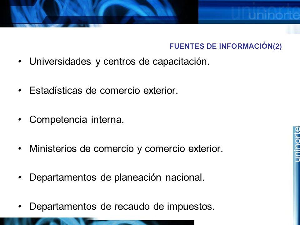 FUENTES DE INFORMACIÓN(2) Universidades y centros de capacitación. Estadísticas de comercio exterior. Competencia interna. Ministerios de comercio y c