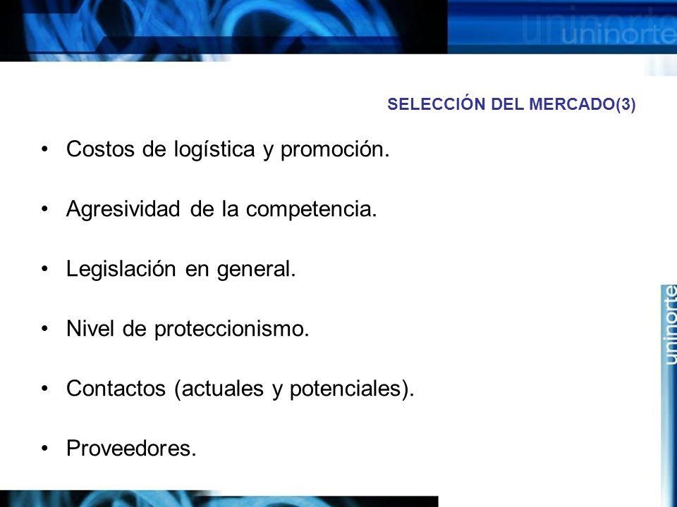 SELECCIÓN DEL MERCADO(3) Costos de logística y promoción. Agresividad de la competencia. Legislación en general. Nivel de proteccionismo. Contactos (a