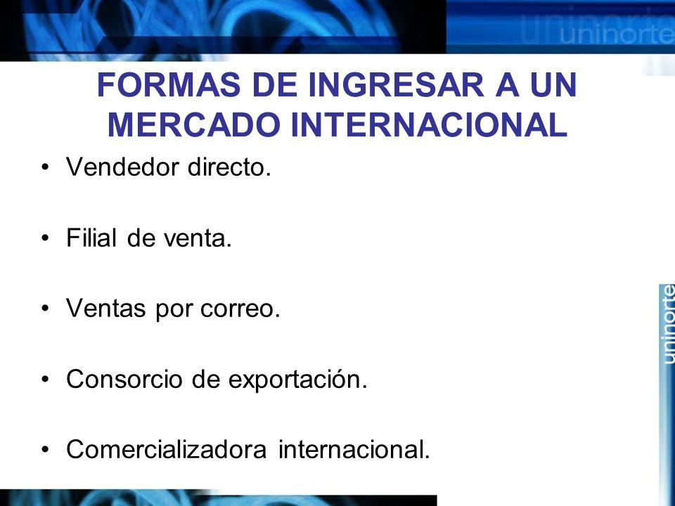FORMAS DE INGRESAR A UN MERCADO INTERNACIONAL Vendedor directo. Filial de venta. Ventas por correo. Consorcio de exportación. Comercializadora interna