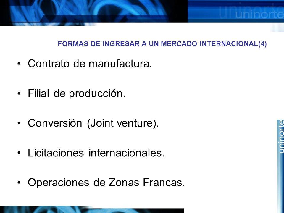 FORMAS DE INGRESAR A UN MERCADO INTERNACIONAL(4) Contrato de manufactura. Filial de producción. Conversión (Joint venture). Licitaciones internacional