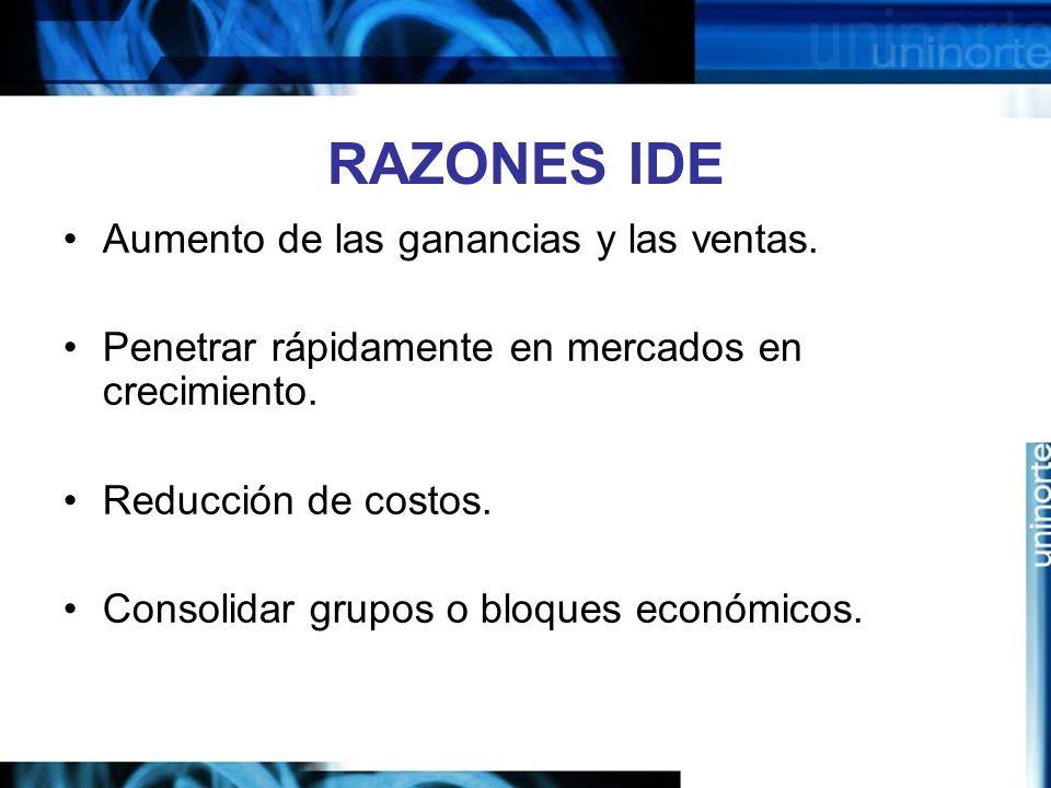 RAZONES IDE Aumento de las ganancias y las ventas. Penetrar rápidamente en mercados en crecimiento. Reducción de costos. Consolidar grupos o bloques e