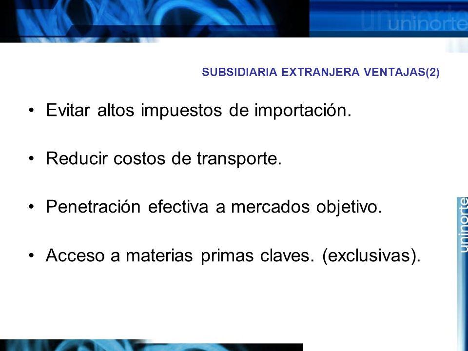 SUBSIDIARIA EXTRANJERA VENTAJAS(2) Evitar altos impuestos de importación. Reducir costos de transporte. Penetración efectiva a mercados objetivo. Acce