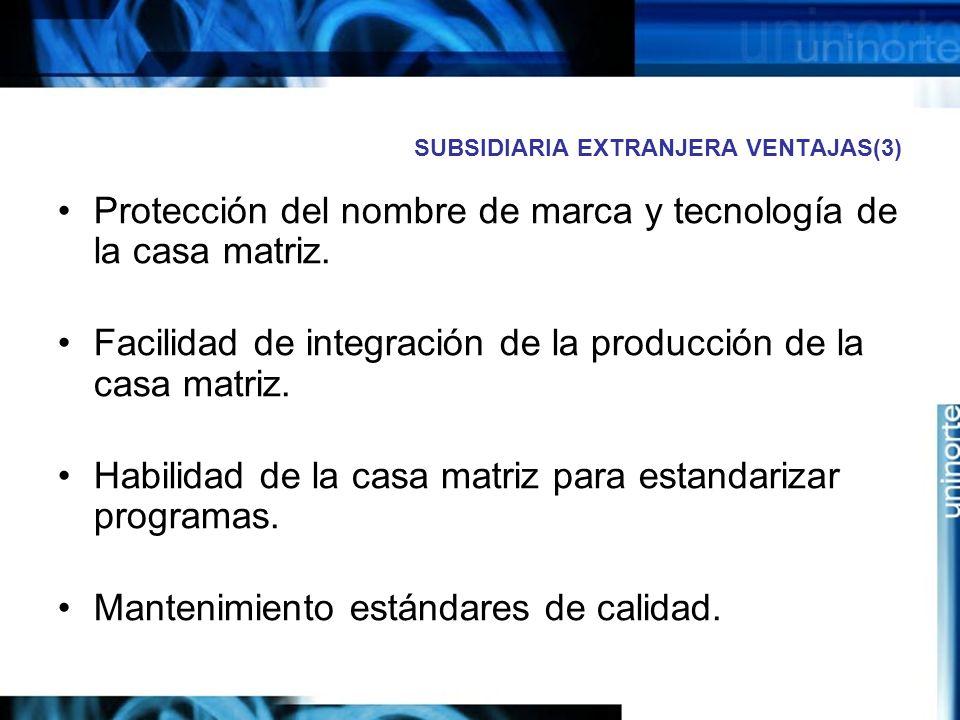 SUBSIDIARIA EXTRANJERA VENTAJAS(3) Protección del nombre de marca y tecnología de la casa matriz. Facilidad de integración de la producción de la casa