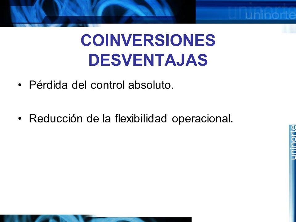 COINVERSIONES DESVENTAJAS Pérdida del control absoluto. Reducción de la flexibilidad operacional.