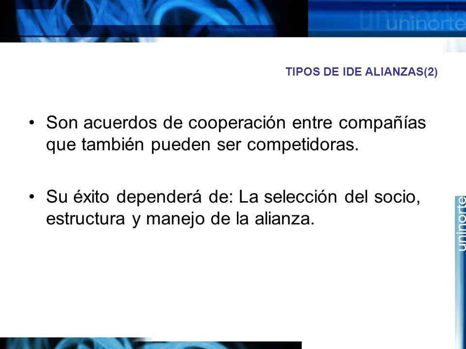 TIPOS DE IDE ALIANZAS(2) Son acuerdos de cooperación entre compañías que también pueden ser competidoras. Su éxito dependerá de: La selección del soci