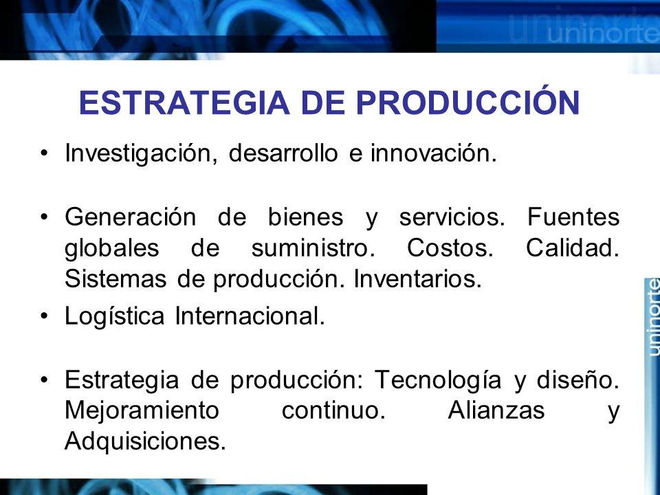 ESTRATEGIA DE PRODUCCIÓN Investigación, desarrollo e innovación. Generación de bienes y servicios. Fuentes globales de suministro. Costos. Calidad. Si