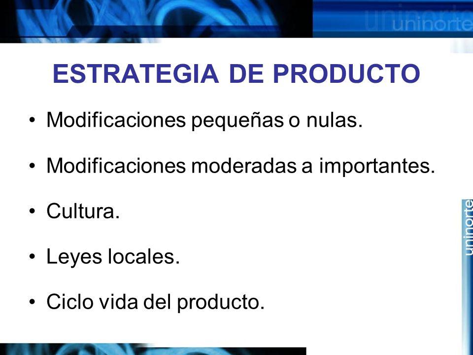 ESTRATEGIA DE PRODUCTO Modificaciones pequeñas o nulas. Modificaciones moderadas a importantes. Cultura. Leyes locales. Ciclo vida del producto.
