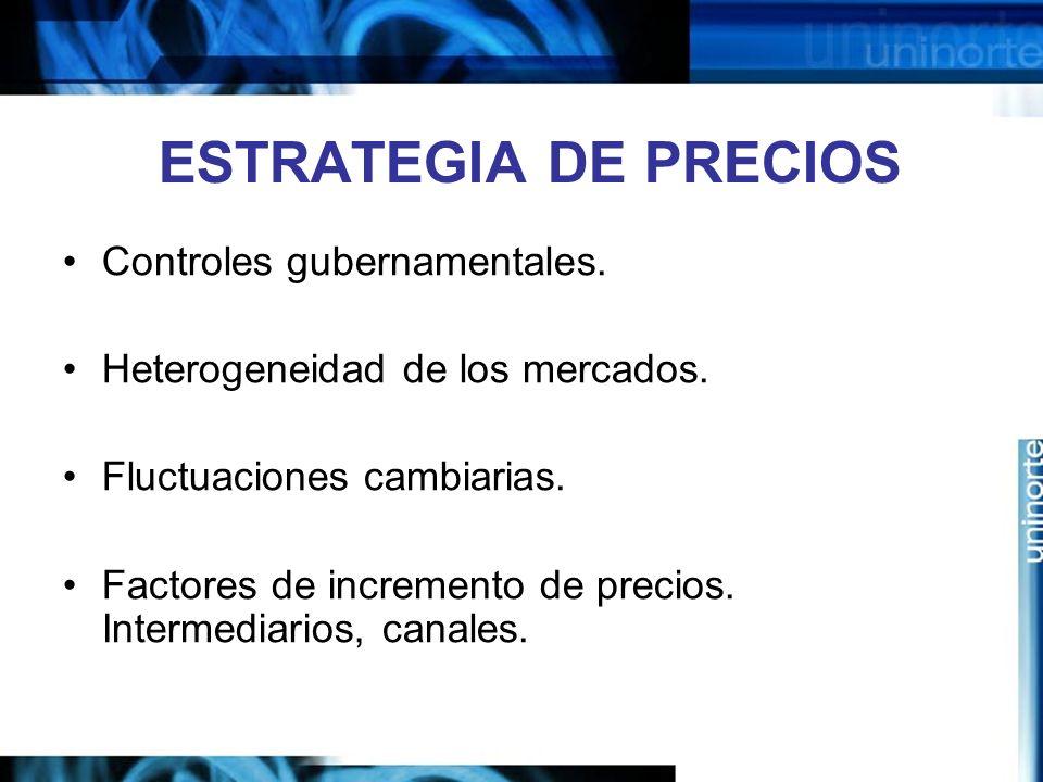 ESTRATEGIA DE PRECIOS Controles gubernamentales. Heterogeneidad de los mercados. Fluctuaciones cambiarias. Factores de incremento de precios. Intermed