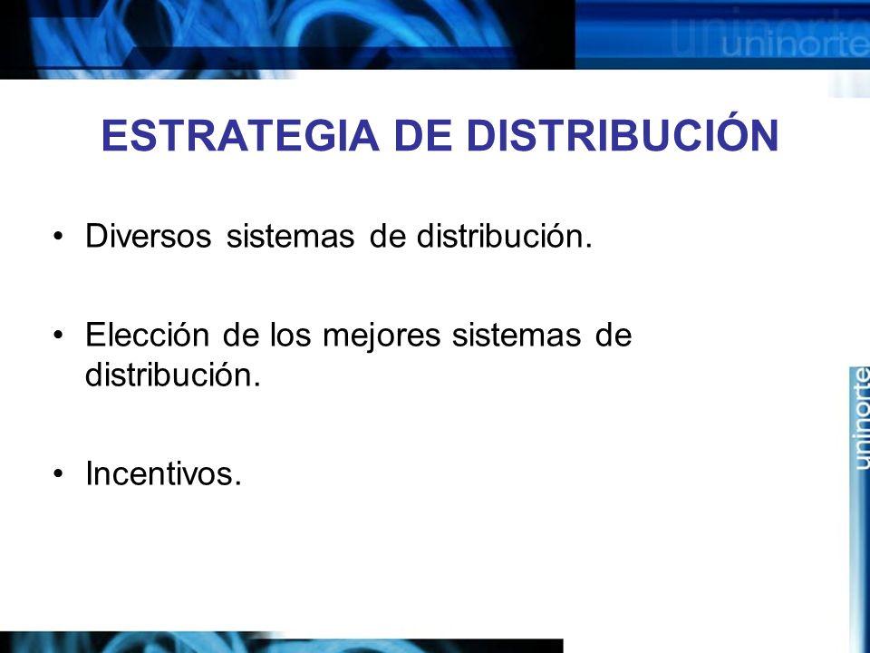 ESTRATEGIA DE DISTRIBUCIÓN Diversos sistemas de distribución. Elección de los mejores sistemas de distribución. Incentivos.