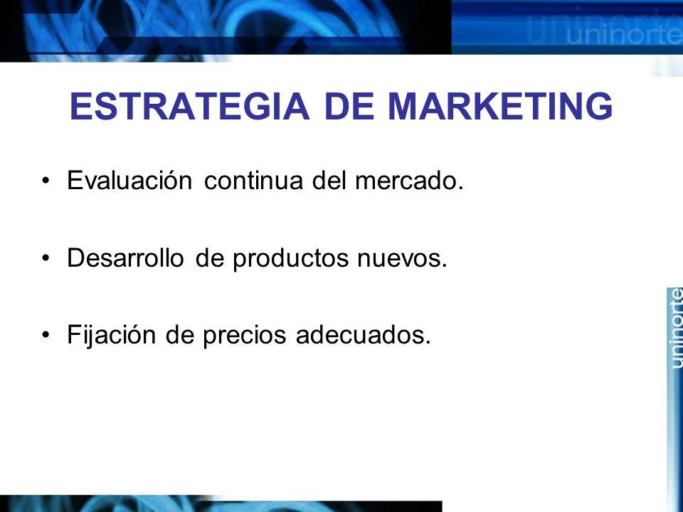 ESTRATEGIA DE MARKETING Evaluación continua del mercado. Desarrollo de productos nuevos. Fijación de precios adecuados.