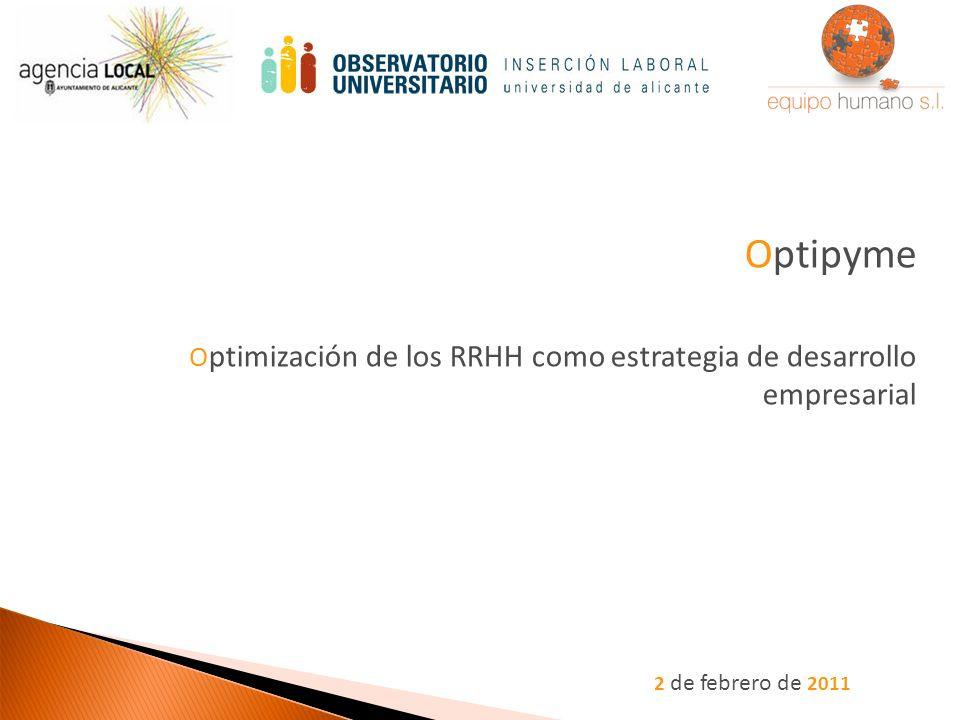 2 de febrero de 2011 Optipyme O ptimización de los RRHH como estrategia de desarrollo empresarial