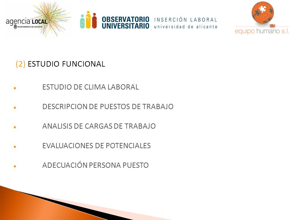 (2) ESTUDIO FUNCIONAL ESTUDIO DE CLIMA LABORAL DESCRIPCION DE PUESTOS DE TRABAJO ANALISIS DE CARGAS DE TRABAJO EVALUACIONES DE POTENCIALES ADECUACIÓN PERSONA PUESTO