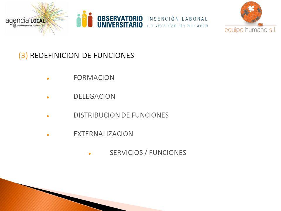 (3) REDEFINICION DE FUNCIONES FORMACION DELEGACION DISTRIBUCION DE FUNCIONES EXTERNALIZACION SERVICIOS / FUNCIONES