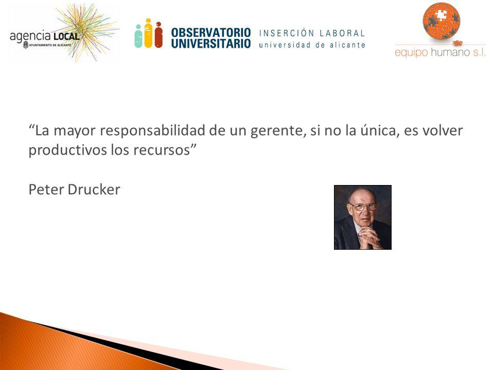 La mayor responsabilidad de un gerente, si no la única, es volver productivos los recursos Peter Drucker
