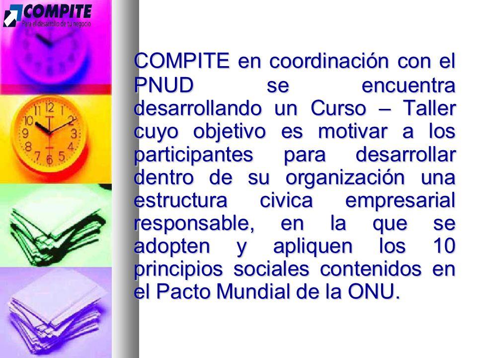 COMPITE en coordinación con el PNUD se encuentra desarrollando un Curso – Taller cuyo objetivo es motivar a los participantes para desarrollar dentro de su organización una estructura civica empresarial responsable, en la que se adopten y apliquen los 10 principios sociales contenidos en el Pacto Mundial de la ONU.