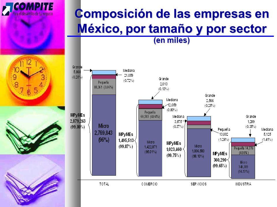 Composición de las empresas en México, por tamaño y por sector (en miles)
