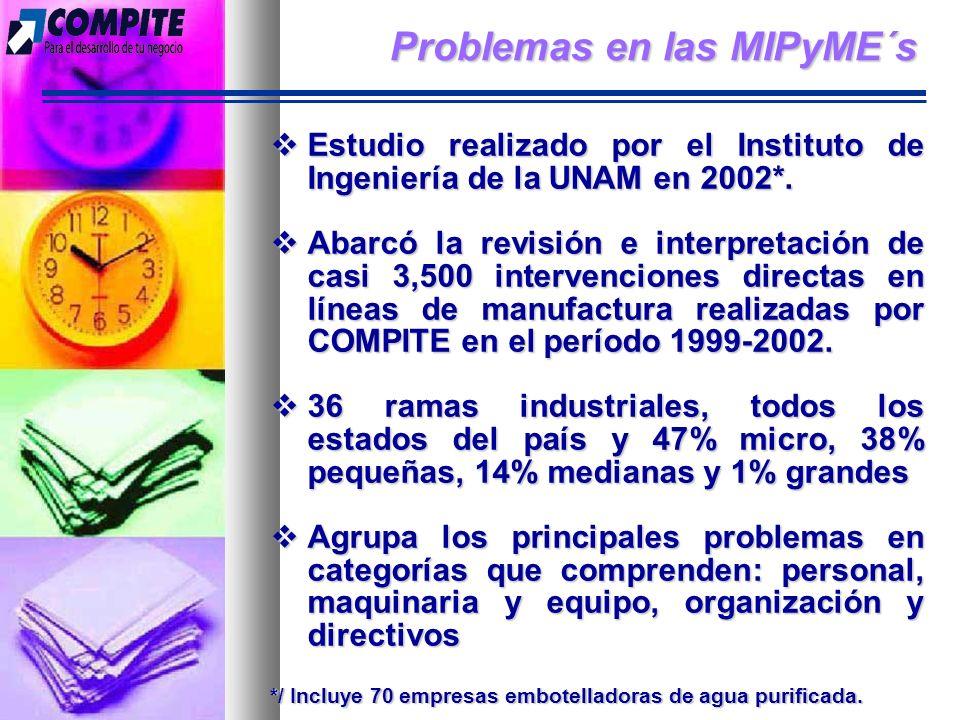 Problemas en las MIPyME´s Estudio realizado por el Instituto de Ingeniería de la UNAM en 2002*.