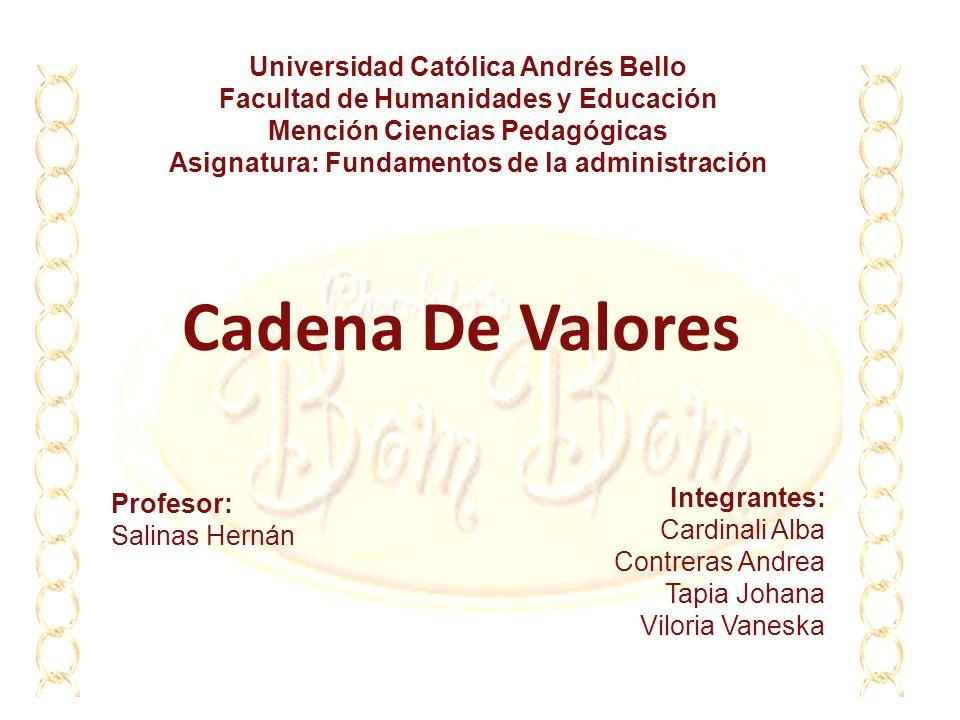 Cadena De Valores Universidad Católica Andrés Bello Facultad de Humanidades y Educación Mención Ciencias Pedagógicas Asignatura: Fundamentos de la adm