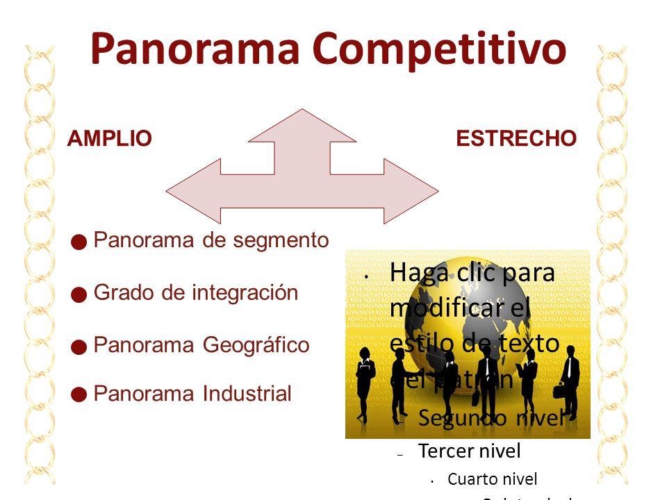 Panorama Competitivo Panorama de segmento Grado de integración Panorama Geográfico Panorama Industrial AMPLIOESTRECHO Haga clic para modificar el esti
