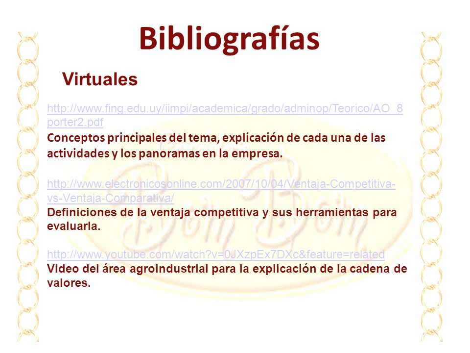Bibliografías http://www.fing.edu.uy/iimpi/academica/grado/adminop/Teorico/AO_8 porter2.pdf http://www.fing.edu.uy/iimpi/academica/grado/adminop/Teori
