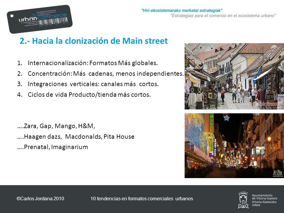 2.- Hacia la clonización de Main street 1.Internacionalización: Formatos Más globales.
