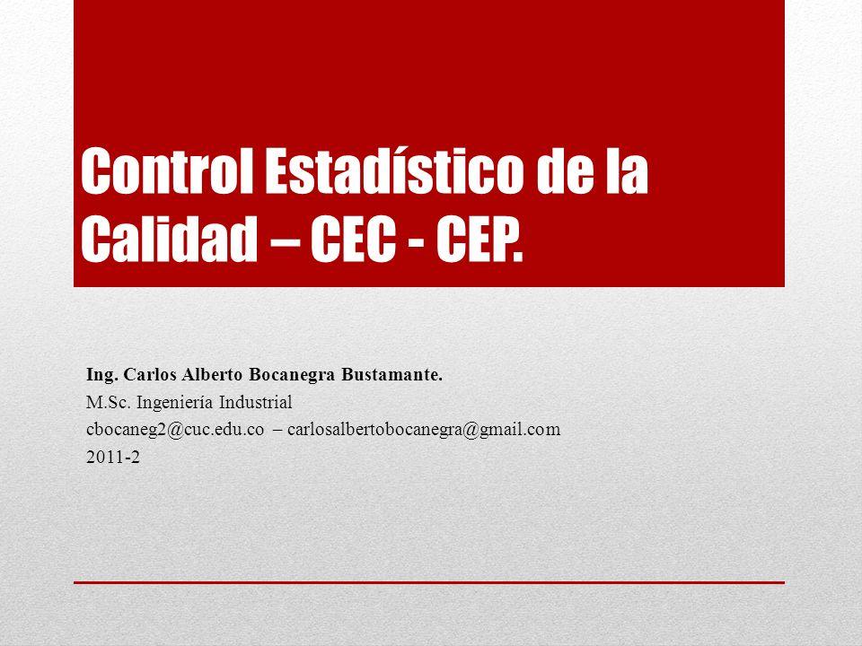 Control Estadístico de la Calidad – CEC - CEP. Ing.