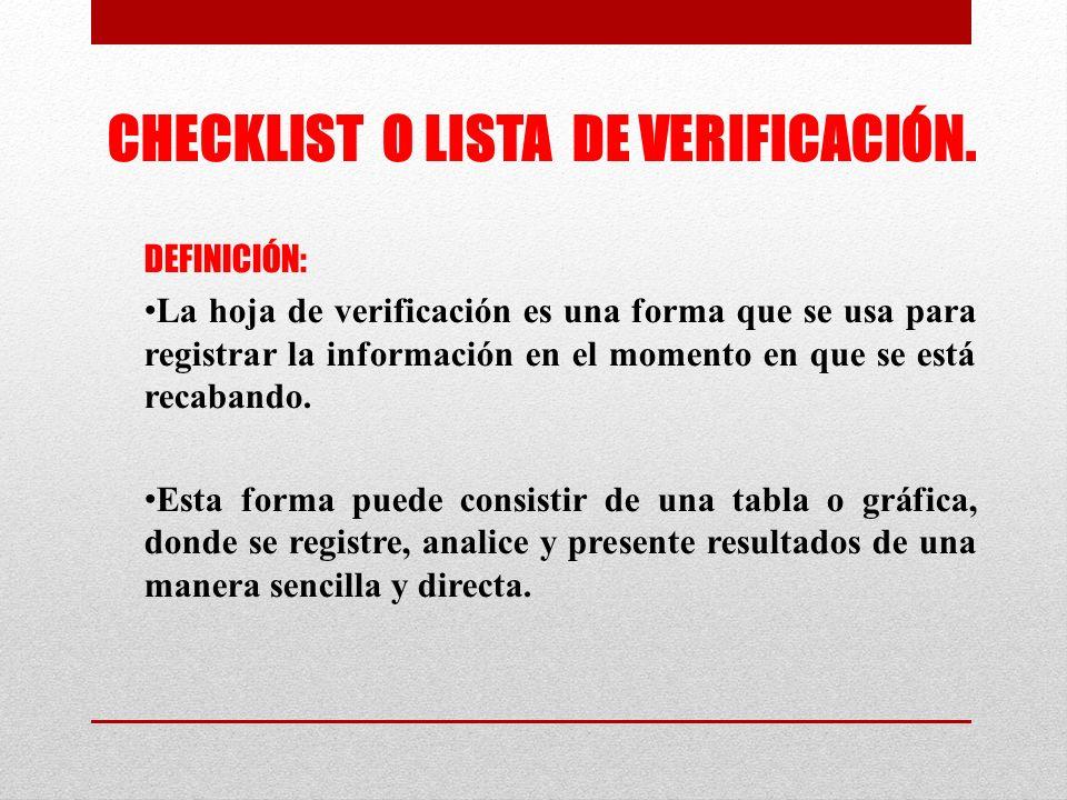 CHECKLIST O LISTA DE VERIFICACIÓN.