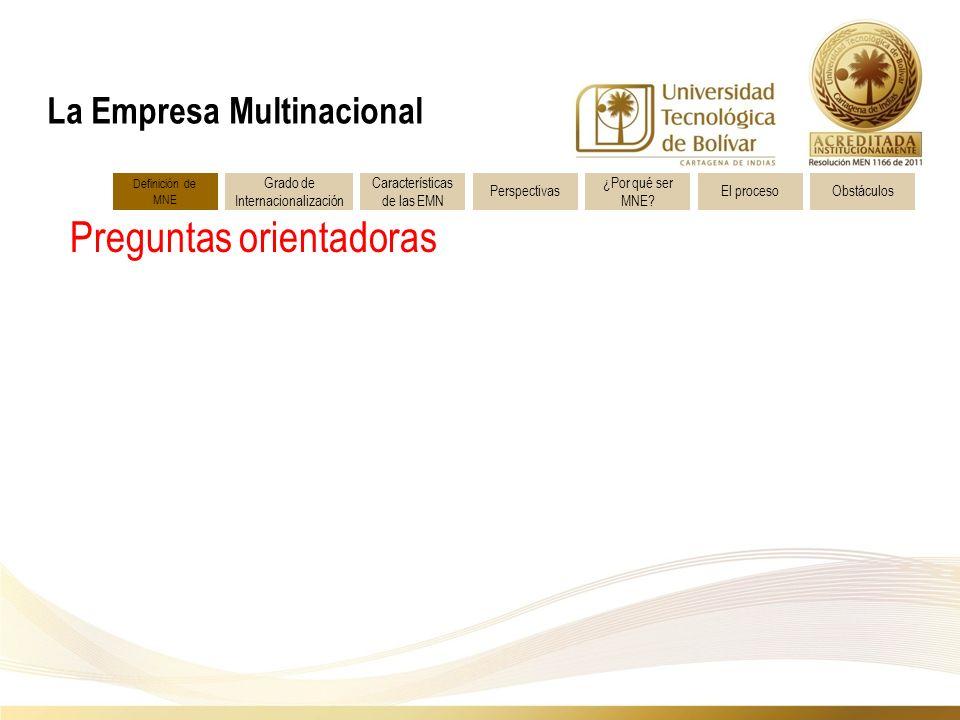 Preguntas orientadoras La Empresa Multinacional Definición de MNE Características de las EMN Grado de Internacionalización Perspectivas ¿Por qué ser MNE.